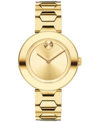 Movado Women's Swiss Bold Gold-Tone Ion-Plated Stainless Steel Bracelet Watch 32mm 3600382