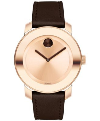 Movado Women's Swiss Bold Brown Leather Strap Watch 36mm 3600380
