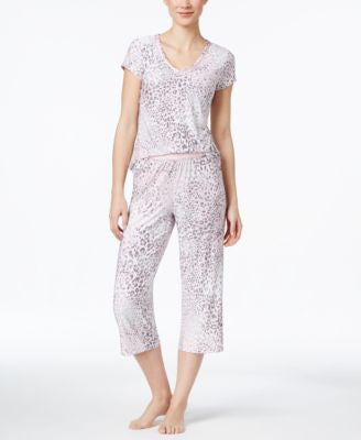 Alfani Printed V-Neck Top & Cropped Pajama Pants Sleep Separates, Only at Vogily