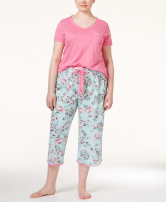 Jenni by Jennifer Moore Plus Size Pocket Top & Printed Capri Pajama Pants Sleep Separates, Only at V