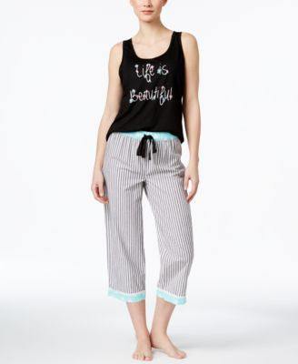Jenni by Jennifer Moore Printed Tank & Capri Pajama Pants Sleep Separates, Only at Vogily