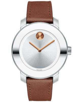 Movado Women's Swiss Bold Cognac Leather Strap Watch 36mm 3600379