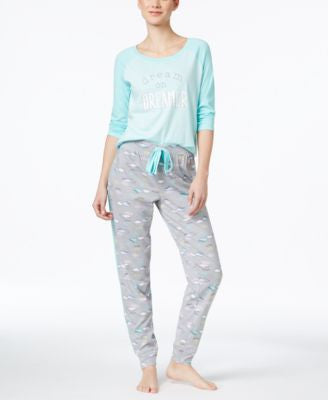 Jenni by Jennifer Moore Baseball Top & Jogger Pajama Pants Sleep Separates, Only at Vogily