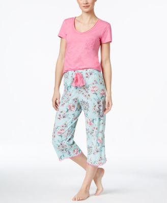 Jenni by Jennifer Moore Pocket Top & Printed Capri Pajama Pants Sleep Separates, Only at Vogily
