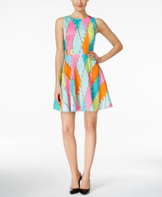 CeCe Diamond-Print Fit & Flare Dress