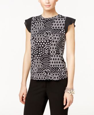 CeCe Printed Flutter-Sleeve Top
