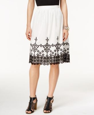 CeCe Embroidered A-Line Skirt