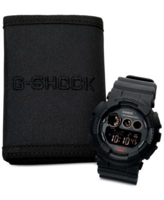G-Shock Men's Digital Blackout Black Strap Watch and Wallet Set 55x51mm GD120MB-1BOB