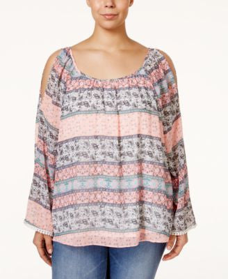 ING Plus Size Bell-Sleeve Cold-Shoulder Printed Top