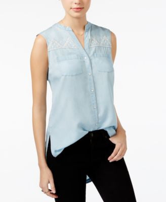 American Rag Embroidered Chambray High-Low Tunic, Only at Vogily