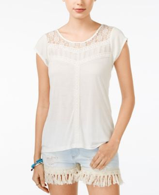 American Rag Lace-Yoke Crochet-Trim Top, Only at Vogily