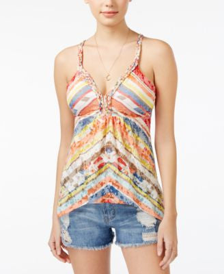 American Rag Printed Asymmetrical-Hem Top, Only at Vogily