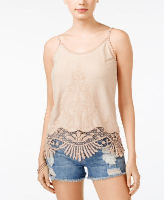 American Rag Crochet Lace Embroidered Faux-Suede Tank Top, Only at Vogily