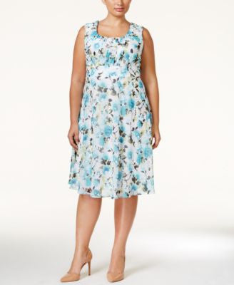 Connected Plus Size Sleeveless Floral-Print A-Line Dress