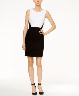 Calvin Klein Petite Sleeveless Colorblocked Sheath Dress