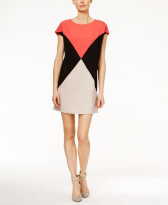 Calvin Klein Colorblocked Cap-Sleeve Shift Dress