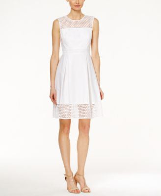 Calvin Klein Sleeveless Crocheted A-Line Dress