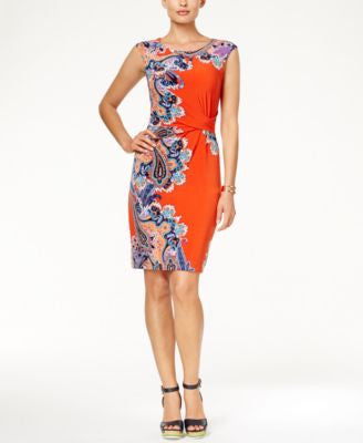 Tommy Hilfiger Ruched Paisley-Print Sheath Dress