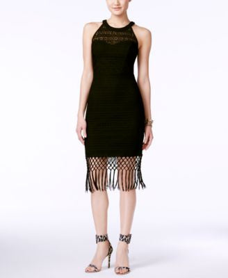 GUESS Sleeveless Fringe-Trim Sheath Dress
