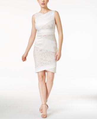 JAX Asymmetrical Lace-Panel Sheath Dress