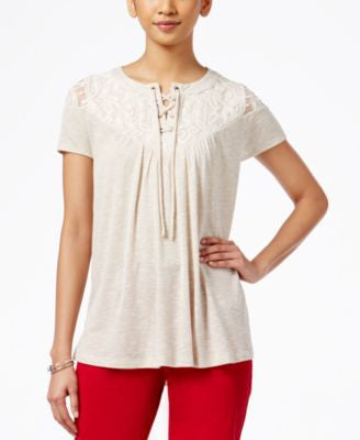 Style & Co. Short-Sleeve Lace-Yoke Top, Only at Vogily