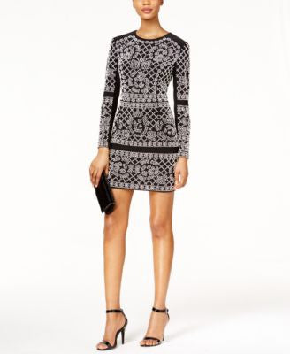 Xscape Embellished Long Sleeve Mini Dress