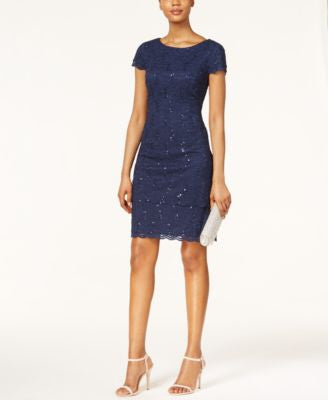 Alex Evenings Cap-Sleeve Sequined Lace Sheath Dress