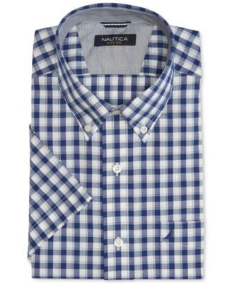 Nautica Men's Big & Tall Button-Down Plaid Short-Sleeve Non Iron Shirt