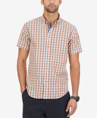 Nautica Men's Drift Plaid Button-Down Short-Sleeve Shirt