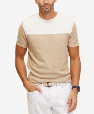 Nautica Men's Slim-FitColorblocked Linen Crew-Neck T-Shirt