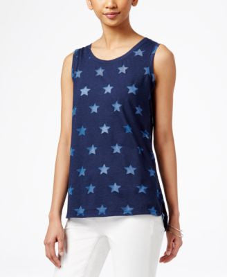 Style & Co. Burnout-Star Sleeveless Top, Only at Vogily