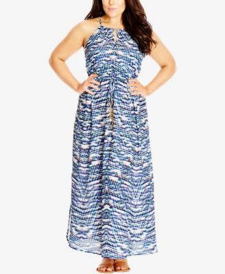 City Chic Plus Size Printed Halter Maxi Dress