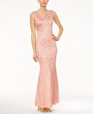 Calvin Klein Lace Open-Back Mermaid Gown