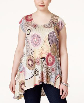 American Rag Plus Size Geo-Print High-Low Top, Only at Vogily