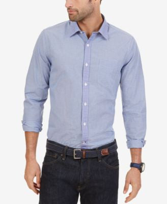 Nautica Men's Helmsman Mini-Check Long-Sleeve Slim Fit Shirt