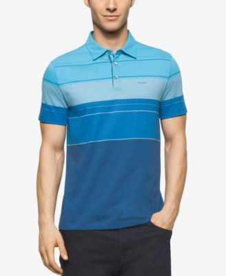 Calvin Klein Men's Colorblocked Striped Liquid Cotton Polo Shirt