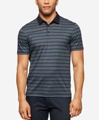 Calvin Klein Men's Contrast-Collar Striped Liquid-Cotton Polo