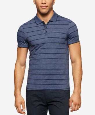 Calvin Klein Men's Fairway Striped Liquid-Cotton Polo