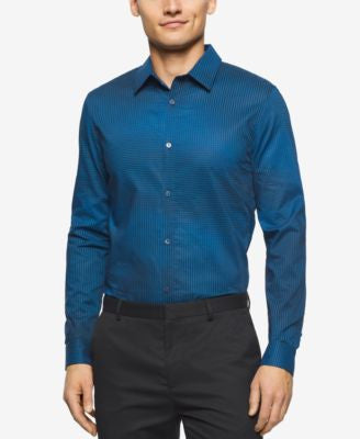 Calvin Klein Men's Stripe and Check Long-Sleeve Shirt