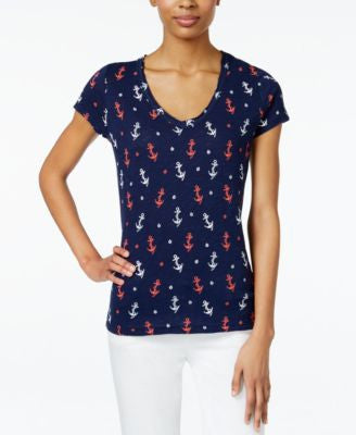 Maison Jules Anchor-Print T-Shirt, Only at Vogily