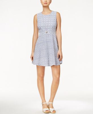 Maison Jules Gingham-Print Eyelet Fit & Flare Dress, Only at Vogily