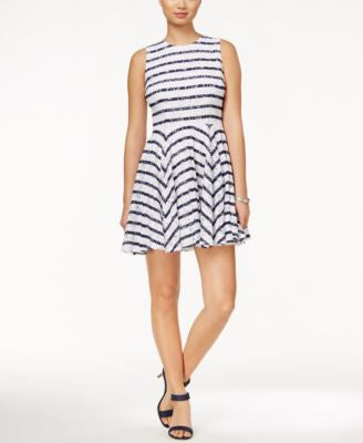 Maison Jules Striped Lace Fit & Flare Dress, Only at Vogily