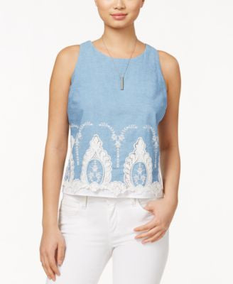 Maison Jules Sleeveless Crocheted-Hem Shell, Only at Vogily