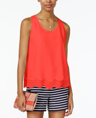 Maison Jules Layered Scallop-Hem Top, Only at Vogily