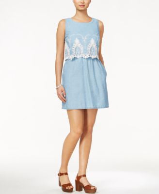 Maison Jules Sleeveless Crocheted-Hem Popover Dress, Only at Vogily