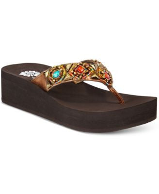 Yellow Box Azteck Embellished Wedge Flip-Flops