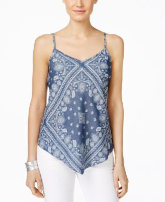 INC International Concepts Printed V-Neck Handkerchief-Hem Top, Only at Vogily