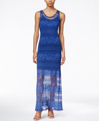 Bar III Sleeveless Lace Maxi Dress, Only at Vogily