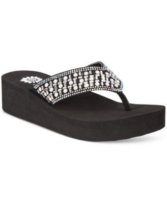 Yellow Box Blanc Rhinestone Wedge Flip-Flops