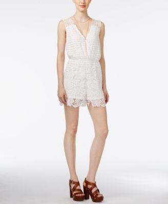Bar III Sleeveless Crochet Romper, Only at Vogily